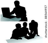 business silhouettes | Shutterstock . vector #88564957
