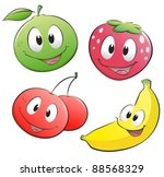 Cute Cartoon Fruits. Isolated...