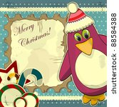 christmas card in vintage style ... | Shutterstock .eps vector #88584388