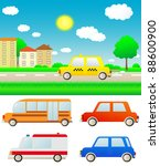 set colorful cars with summer... | Shutterstock .eps vector #88600900