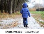 Little Child Girl Walking Alon...