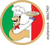 Illustration of an italian cartoon chef with a  pizza