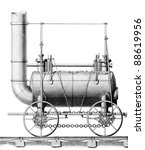 Created circa 1816 By: George Stephenson and William Losh, for patent filing. George Stephenson considered inventor of the first steam locomotive engine for railways. Line drawing artwork steam engine - stock photo