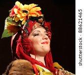 Small photo of CHERNIVTSI, UKRAINE - NOVEMBER 11: Ulia Fedoruca performs Ukrainian folk show '' Patriot Lis Mikita '' at Golos theater in November 11, 2011, Chernivtsi, Ukraine