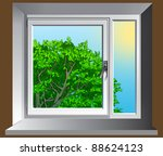 window with summer view | Shutterstock . vector #88624123