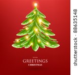 christmas tree from green ink... | Shutterstock .eps vector #88635148