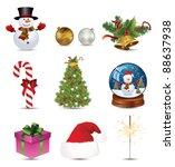christmas icon set | Shutterstock .eps vector #88637938