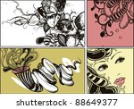 vector floral set of hand drawn ... | Shutterstock .eps vector #88649377