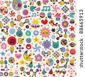 fun colorful cartoon pattern - stock vector
