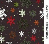 Christmas snowflakes, seamless pattern - stock vector