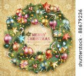 christmas wreath with baubles... | Shutterstock .eps vector #88679236