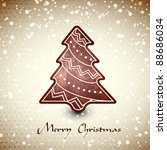 christmas card  whith chocolate ... | Shutterstock .eps vector #88686034