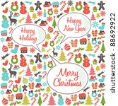 christmas pattern with speech... | Shutterstock .eps vector #88692922