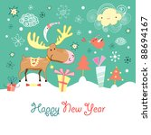 christmas card with a elk | Shutterstock .eps vector #88694167