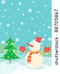 illustration of a snowman and... | Shutterstock .eps vector #88705867