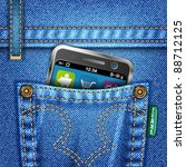 jeans texture with mobile phone ... | Shutterstock .eps vector #88712125