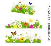 3 spring flower bouquet ... | Shutterstock . vector #88719742