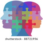 man and woman profiles face... | Shutterstock .eps vector #88721956