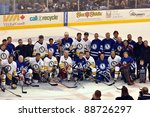TORONTO, CANADA - NOV 13:  Hockey superstars pose for photo after the Hockey Hall of Fame Legends Classic game played at the Air Canada Centre on Nov 13, 2011 during induction ceremonies in Toronto, Canada. - stock photo