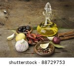 olive oil and spices on wooden... | Shutterstock . vector #88729753