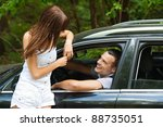 young handsome man sitting car... | Shutterstock . vector #88735051