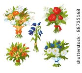 a set of five bouquets of... | Shutterstock .eps vector #88735168