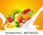 splashing milk with fruit mix | Shutterstock . vector #88736626