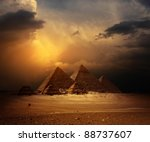 Great Pyramids In Giza Valley...