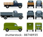 Retro Trucks  1930 40th . Set...