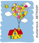 house flying with balloons | Shutterstock .eps vector #88754269