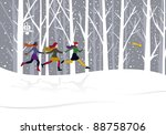 christmas card. three young... | Shutterstock .eps vector #88758706
