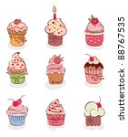 the collection   lovely cakes | Shutterstock .eps vector #88767535