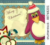 christmas card in vintage style ... | Shutterstock . vector #88768201