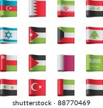 vector flags icon set. asia ... | Shutterstock .eps vector #88770469