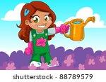 gardening girl   Shutterstock .eps vector #88789579