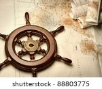 Wooden Helm On The Navigation...