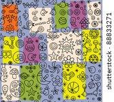 fun cartoon seamless retro pattern - stock vector