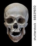 Human Skull On A Black...