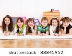 group of laughing kids lying on ... | Shutterstock . vector #88845952