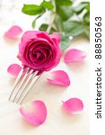 fork and rose for table setting - stock photo