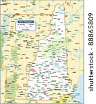 new hampshire state map | Shutterstock .eps vector #88865809