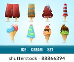 vector set with colorful ice... | Shutterstock .eps vector #88866394