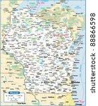 wisconsin state map | Shutterstock .eps vector #88866598