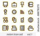 neon icon set vector  cmyk  | Shutterstock .eps vector #88878370