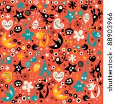 Cute abstract characters seamless pattern - stock vector
