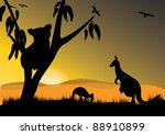 Single Koala Two Kangaroo And...