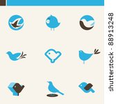 set of cute blue birds. icons...