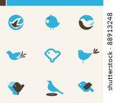 set of cute blue birds. icons...