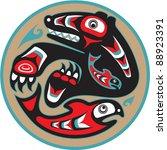 bear catching salmon   native... | Shutterstock .eps vector #88923391