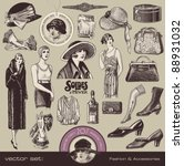 vector set  ladies fashion and... | Shutterstock .eps vector #88931032